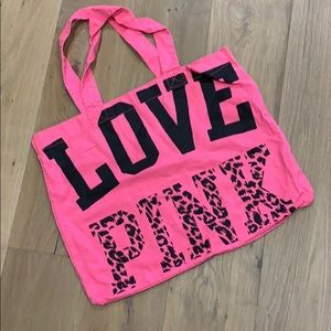 Victoria's Secret Pink hot pink tote bag